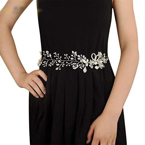 Matilda530 Brautgürtel Brautrhinestone-Perlen-Kristallhochzeitskleid Zubehör Hochzeit Schmuck Bauchkette (Farbe : Champagner)
