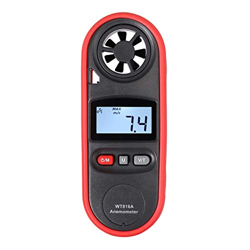 eSynic LCD Digital Anemometer mit Hintergrundbeleuchtung Tachometer 6 Sets und Temperatur C/F NTC Windtester Handheld Fischen Navigation Wettererkennun Surfen Segelboot Entwässerung