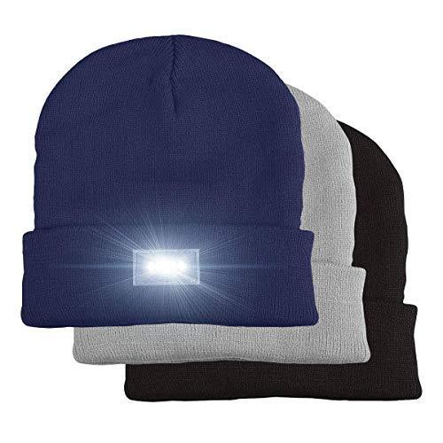 5 LED gestrickter Beanie-Hut, Hände frei LED Beanie Cap, Scheinwerfer-Hut, Taschenlampe Kappe, für Jagd, Camping,Grillen, Jogging, Laufen, Laufen, Radfahren (3 PCS(Blcak-Nave Blue-Gray))