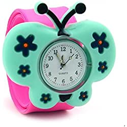 Top Quality New Cute Luminous Kids Boys Girls Silicone 3D Cartoon Animal Bendable Slap Watch Clap on Hand Gift Birthday Xmas - Pink Butterfly