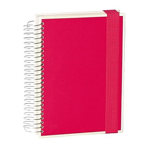 Semikolon Mucho Spiral-Notizbuch mit 3 Liniaturen in pink (rosa) | 110 linierte Seiten , 110 karierte Seiten, 110 blanko Seiten | Perfekt als Organizer oder Sketch-Book mit gummiband-Verschluss und Folientaschen | Format: 15,7 x 21,7 cm