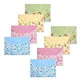 Portadocumenti A4 Stampato floreale Portadocumenti di Plastica Cartellette Dimensione della lettera con Bottone,8 pezzi