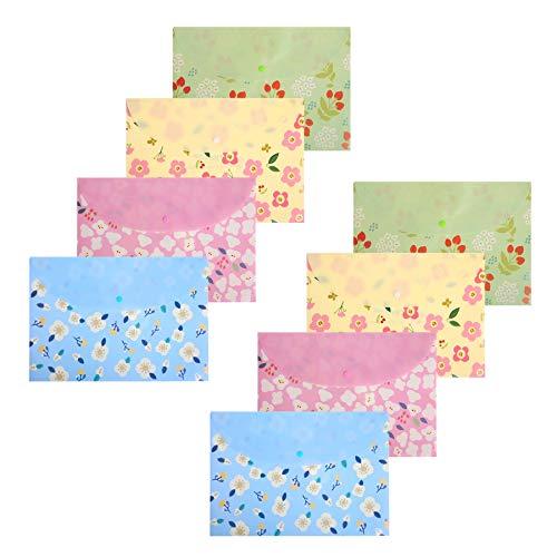 Dokumententaschen A4 Brief Größe Dokumentenmappe Floral Bedruckt Dokument Ordner mit Druckknopf,8 Stück von KONVINIT - Ordner-verschluss Brief Größe