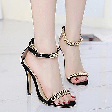 LvYuan sandali club estivo scarpe chain dell'unità di elaborazione abito tacco a spillo Black
