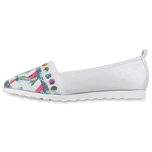 Perfil De Brilhante Sapatos Lantejoulas De Únicos Branco Moer Apartamentos Mocassins Deslizador Senhora tqwgUx8x