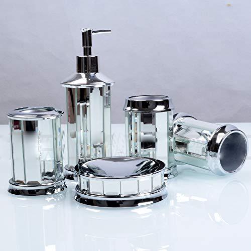 Juego de Accesorios de baño de Lujo con dispensador de jabón decorativo para encimera, Plato, Vaso, Soporte para Cepillo de Dientes, Juego de Montaje de Vidrio