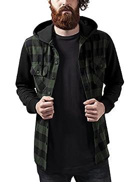 Urban Classics Herren Freizeithemd Hooded Checked Flanell Sweat Sleeve Shirt