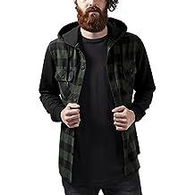 Urban Classics TB513 Herren Regular Fit Freizeit Hemd Hooded Checked Flanell Sweat Sleeve Shirt