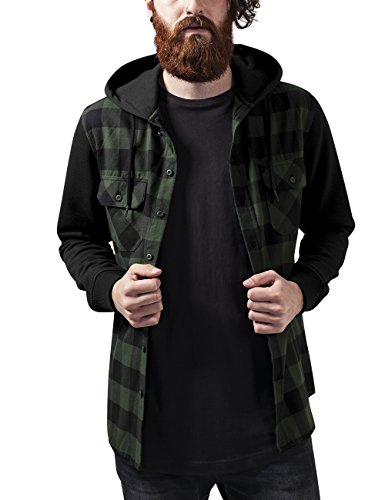 Urban Classics Hooded Checked Flanell Sweat Sleeve Shirt, Felpa Uomo, Mehrfarbig (Blk/Forest/Blk 797), Large