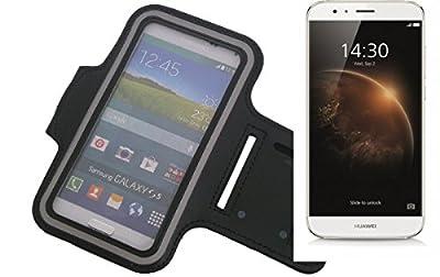 Neopren Jogging Armband Sportarmband Oberarmband für Huawei GX8, schwarz mit Reflektor Streifen. Fitness Lauf Armband