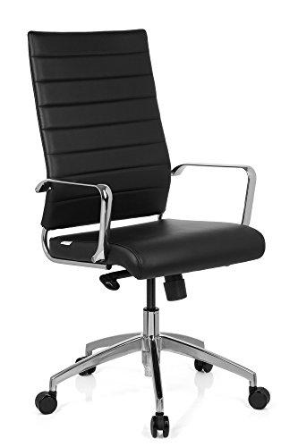 hjh OFFICE Bürostuhl/Chefsessel PONTERA PRO Kunstleder schwarz, hohe Rückenlehne, verchromte Armlehnen und Fußkreuz, Wippmechanik mit Arretierung, 720060