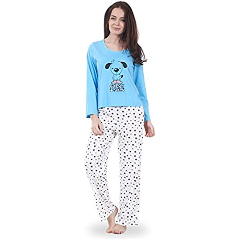 Ex Famous Store - Conjunto de pijama de manga larga estampado animales para mujer, 100% algodón