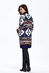 Women's Front Open Geometry Knit Cardigan Sweater Poncho Cape Cloak