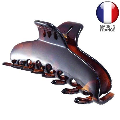 338-003 – Pince crocodile pour cheveux, française, 9 cm, couleur tortue