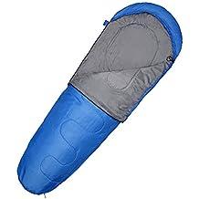 Saco de dormir de OMorc,compactos sacos camping de acampada con compresión bolsa Impermeable viento diseño de la cremallera,cálido y buena,hasta -10 °170T Nylon color Azuls