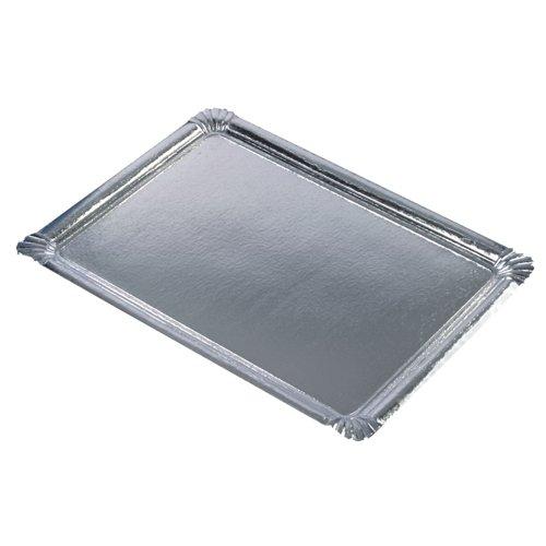 PAPSTAR 11331 10 Servierplatten PE-beschichtet eckig, 34 x 45.5 cm, Silber