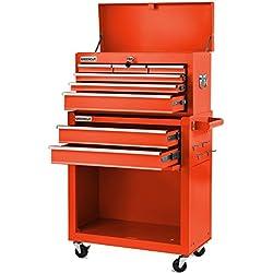 Greencut HEC1075R - Carro/armario para herramientas profesional con 4 ruedas con 10 cajones, rojo