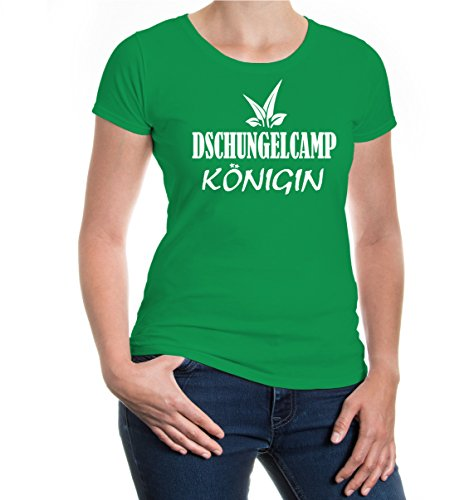 buXsbaum® Girlie T-Shirt Dschungelcamp-Königin Kellygreen-White