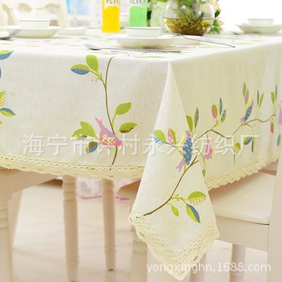 SUUNHH-Premium cloth fabric birds cotton linen tablecloth