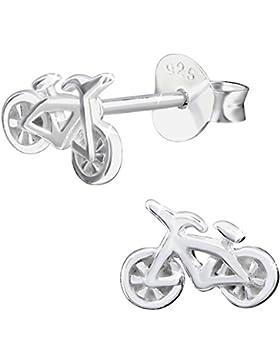JAYARE Kinder-Ohrstecker Fahrrad 925 Sterling Silber 5 x 9 mm Ohrringe