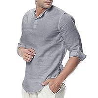 WULFUL Mens Cotton Linen Henley Shirt Loose Fit Long Sleeve Casual T-Shirt Beach Yoga Tops Grey