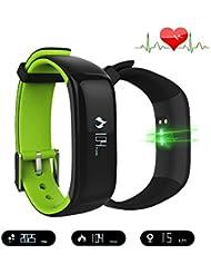 Herzfrequenz-Messgerät - Bluetooth SmartWatch IP67 Wasserdichtes Smartband mit Blutdruck Herzfrequenz Monitor Sport Wristband Gesundheit FitnessTracker Schrittzähler Anruf Nachricht Erinnerung für IOS Android Phone (Grün)