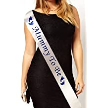 Mummy to Be Baby Shower Party Sash Satin White & Blue by Worldtenda