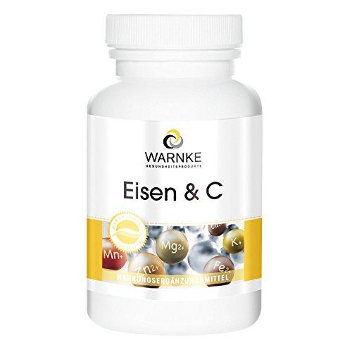 WARNKE - Ferro e C 14mg - 100 capsule - Ferro con Vitamina C per il corretto assorbimento del ferro, B12 per la formazione del sangue, e Biotina per la salute di pelle e capelli