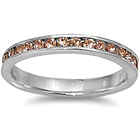 Sterling Silver color champagne zirconi Eternity anello 3MM