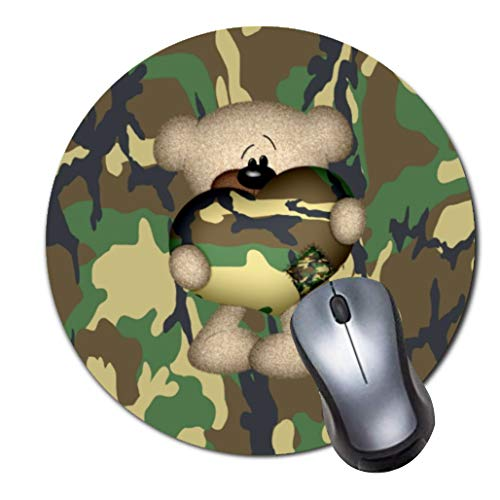 Gaming Mauspad Anti-Rutsch-Gummi Mauspad Rund Mauspad für Computer Laptop Mousepad Camo Herz Militär Teddybär Taille Camo