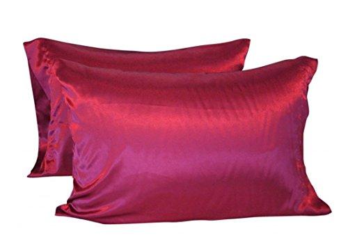 CHRISLZ 2pcs taie d'oreiller en soie Standard 50 * 75CM soyeux doux & Ride libre de couleur Pure soie taie d'oreiller sans fermeture à glissière(rouge)