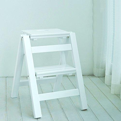 Scaletta in legno pieghevole a 2 gradini scaletta multifunzione scaletta scaletta per interni scaletta interna in legno massello (colore : bianca)