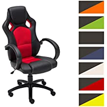 CLP Silla de oficina FIRE, asiento de LUJO ajustable en altura con un revestimiento de cuero sintético rojo