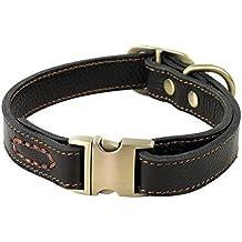 ZEEY Cuero auténtico collar de perro ajustable básico, cuello de 30 cm-43 cm y 2 cm de ancho, durable Fácil de usar la hebilla de cobre collar para perros pequeños / medianos con gancho correa del perro (Black)