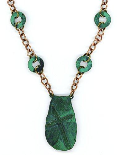 Treasure Pixie Halskette Kreuz kupferfarben mit grünem Edelrost 50,8 cm -