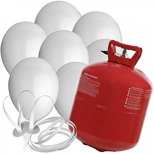 Preisvergleich Produktbild 50 Luftballons Ø 25 cm Farbe frei wählbar mit Helium Ballon Gas Hochzeit Geburtstag Komplettset (Weiß)