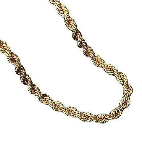 Kangqifen Schmuck Damen Herren Halskette,18K Vergoldet Hanfseil Kette,Breite 6,0 mm - Länge 75 cm,Gold