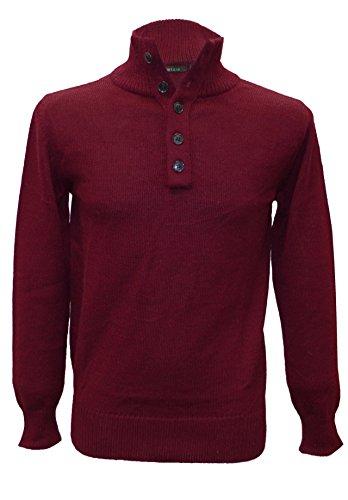 Posh Gear Herren Stehkragen Pullover Lupetto aus 100% Alpakawolle, weinrot, Größe L (Alpaka-wolle Herren-pullover)