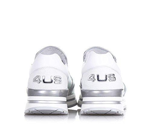4US CESARE PACIOTTI -Silberner und weißer Schuh, aus Leder und Glitzern, die richtige Auswahl für diejenigen, Mädchen, Damen - 6