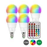 Lot de 5 ampoules LED E14 RGBW - Changement de couleur - 6 W - Intensité variable -...