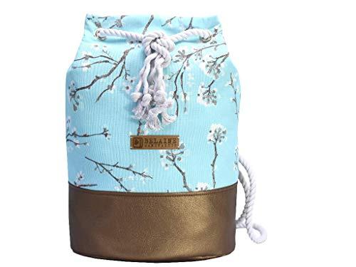 Blauer Rucksack mit goldenem Boden. Canvas Seesack mit Kirschblüten - 3