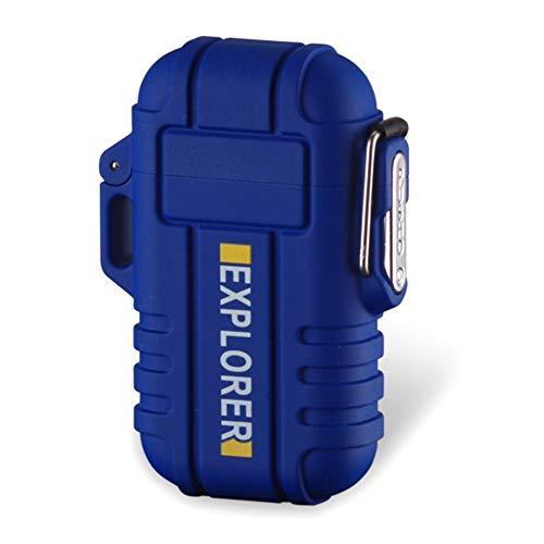 Yeleo Trosetry Feuerzeug, Dual Arc Lighter, USB wiederaufladbar, Flammenlos, Wasserdicht, Plasma-Feuerzeug, Elektrischer Feuerstarter für Wandern, Reisen, Gasherd, Grill(Blau)