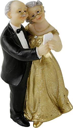Home collection - statuetta per matrimonio, coppia di sposi, 50 anni di nozze d'oro, 6,7 x 5,9 x 11,8 cm