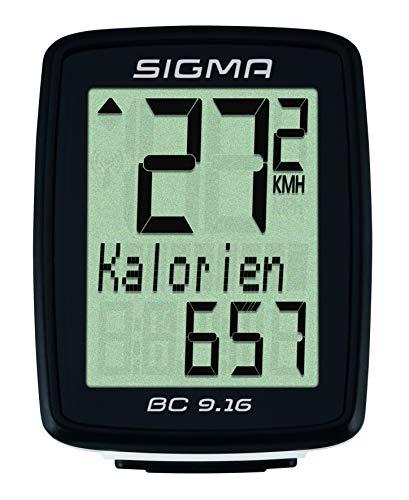 Sigma Sport Fahrrad Computer BC 9.16, 9 Funktionen, Maximalgeschwindigkeit, Kabelgebundener Fahrradtacho, Schwarz - 2