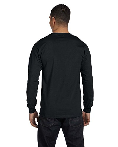 Hanes Mens Beefy-T 100% Cotton Long Sleeve T-Shirt Black