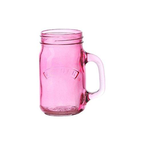 Kilner Handled Drinking Jar Pink 17.6oz / 500ml   Jam Jar Glass