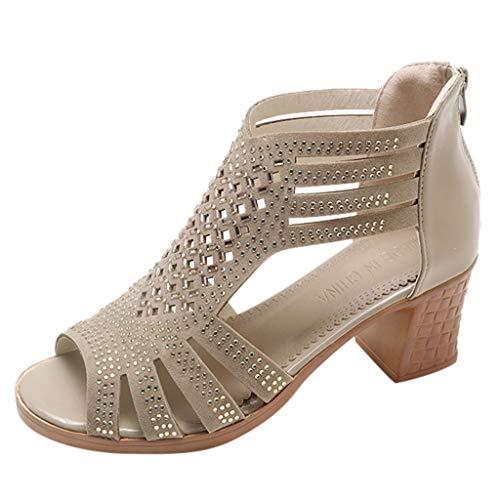 Amlaiworld frühling Sommer Damen Frauen kristall Sandalen Mode fischmaul hohl Roma Schuhe -