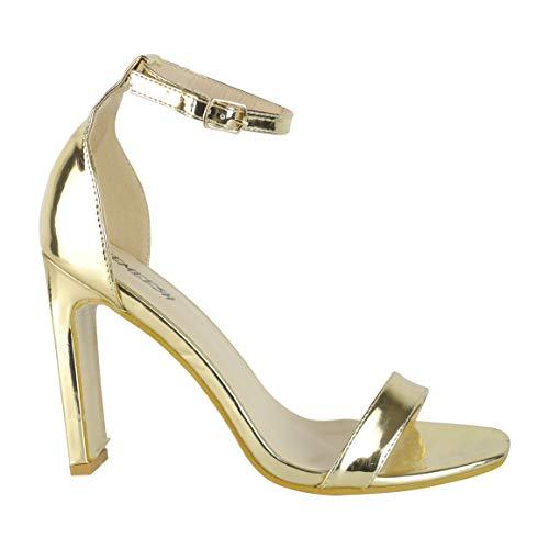 BeMeesh Damen Damen Square Toe Stiletto High Heel Knöchelriemen Sandalen Pumps Schuhe Gold Stiletto Heel