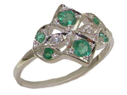 Luxus Damen Ring Solide Sterling-Silber 925 mit Smaragd und Zirkonia - Verfügbare Größen : 47 bis 68
