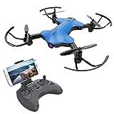 ATOYX AT-146 Drone con Cámara, Mini Drone Plegable con APP WiFi FPV 720 HD, Altitud Hold, Modo sin Cabeza, Una Tecla de Despegue y Aterrizaje de Gravedad RTF, Regalos de Navidad o Año Nuevo, Azul